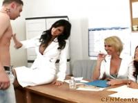 CFNM femdoms in group with their sub tugging