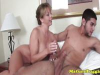 Bigtit cougar jizzed on after tugging cock