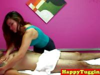Sensual asian masseuse rubs her client gently