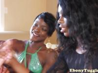 Ebony threeway with busty black babes tugging cock