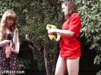 Real lesbos piss outdoors