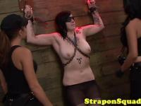 Strapon whore bound and humiliated in threeway