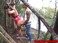 Maledom pounds submissve roughly outdoors