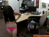 Real latina undresses for cash in pawnshop