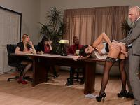 Stephani gets fucked in front of officemates by her boss Johnny