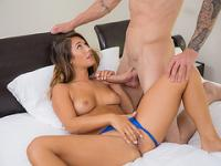Teen Eva Lovia plays her pussy while swallowing a massive cock