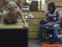 Real ebony pawnshop amateur fucked in front of boyfriend