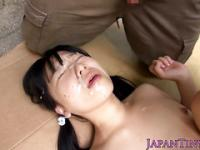 Petite japanese squirting outdoor bukkake gal