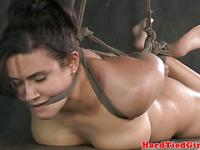 Gagged hogtied sub gets bastinado