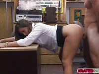 Hot Horny Lady get fucked in pawnshop by a pervy owner