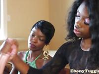 Two ebony nubian sluts wank white cock