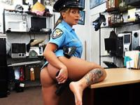 Sexy and horny Police officer gets laid in he pawnshop