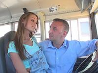 Kacy gets fucked by the school drivers bigcock and receives facial