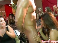 Bachelorette latina dicksucking stripper in front of a crowd
