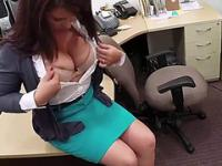 Busty and hot MILF gets pounded hardcore pawn shop office style