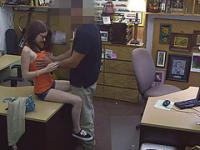 Busty teen jenny gets big cash for sex inside of the pawn shop office
