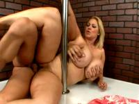Busty Plumper Babe Works The Pole