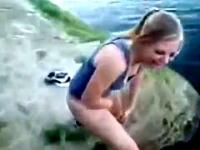 Drunk American Teen Pissing In The Lake