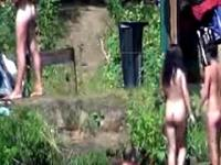 Lesbians Outdoors Infront Of Nudists
