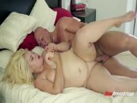 Chubby blonde babe works really huge penis at home