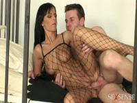 Pretty brunette girl Black Angelica goes doggy style