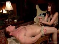 Dominating girl Maitresse Madeline Marlowe takes his cock