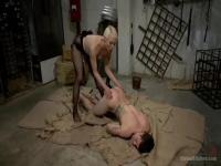 Blonde dominant plays with her slave
