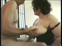 Blindfolded French granny is enjoying hardcore sex