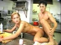 The couple in kitchen go horny and all the cream went around