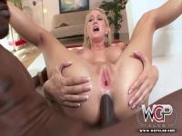 Blacks on blondes ass fucking with two monster cocks