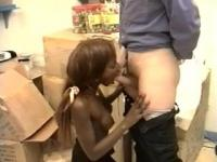 African teen will get the white rod in her pussy