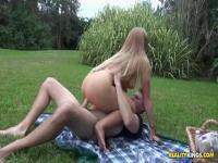 Lovely couple fucks good outdoors with blonde big tits