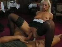 Blonde maid knows the boss's cock's schedule