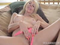Erica Laurenis a blonde MILF that will play her pink slit