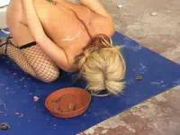 Awesome blonde slave will be lead to eat a dog food