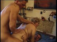 The granny can handle 2 cocks at the same time