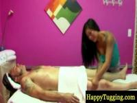 Sexy and seductive masseuse gets to jerking on the table