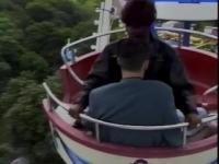 Ebony chick rides her man's schlong on the Ferris wheel