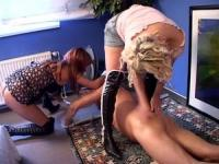 Two horny babes are humiliating the man