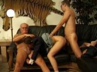 Old man threesome with a priest and a petite chick