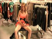 Shopping solo girl has lots of fun