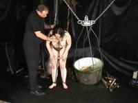 Old school torturing methods for a dirty slave