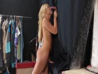 Backstage curtain glory hole for Katerina Kay