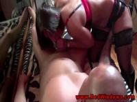 Amateur dudes having a blowjob from a hooker
