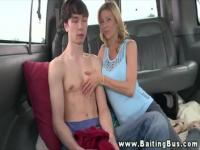 Cute guy rides on a van and seduced by a hottie.