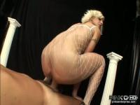 Dirty blonde whore sqeezing a hard meat in her tight ass.