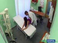 Sexy babe rides on doctor's cock