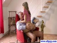 Skinny teen babe fucked by old and fat dude