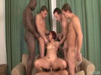 Redhead Lucy Bell gangbanged by five