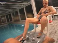 Dirty whore in a luxury pool